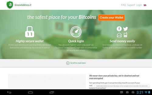 greenaddress wallet bitcoins