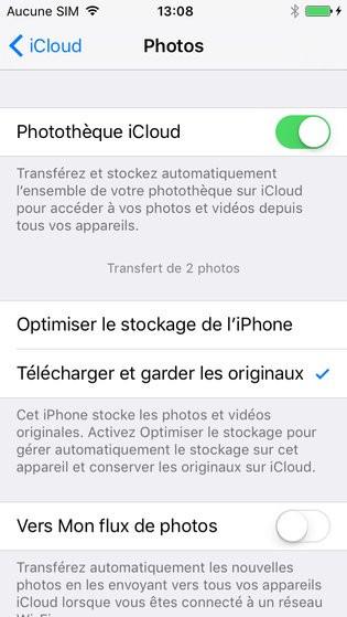 photothèque icloud sur iphone