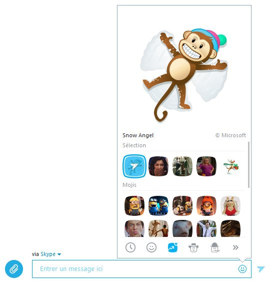 Panneau des Mojis dans Skype