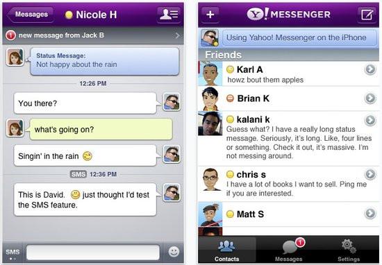 Yahoo! Messenger sur iPhone compatible Windows Live
