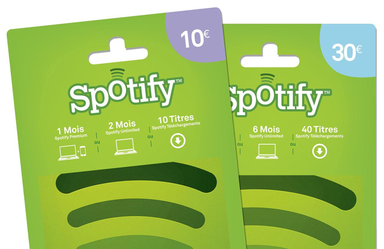 Carte Cadeau Spotify.Spotify Vend A Son Tour Des Cartes Cadeau Prepayees En