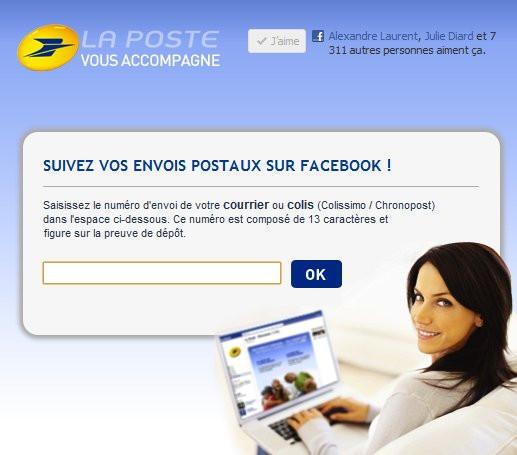 la poste propose le suivi des colis via facebook