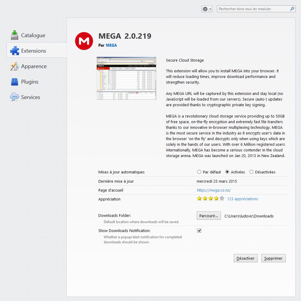 Télécharger MEGA (extensions de navigateur) pour Windows