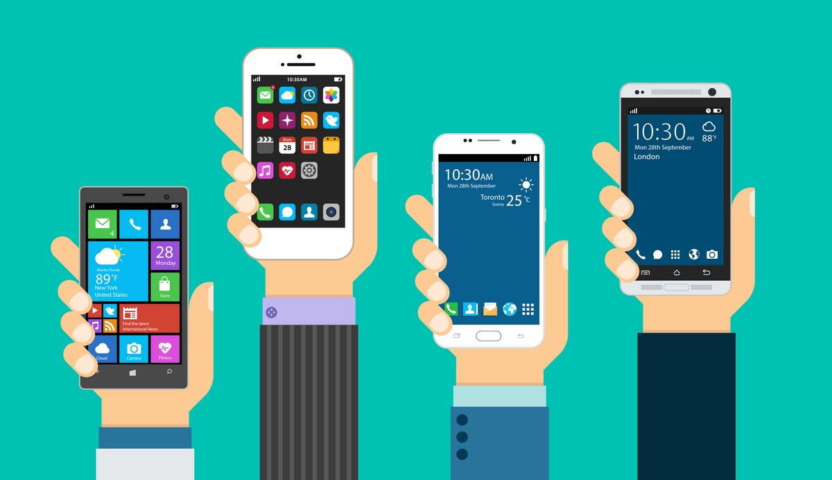 Groupe de smartphones modernes