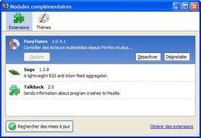 Firefox 2 : panneau d extensions