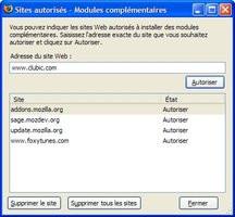 Firefox 2 : autoriser une extension