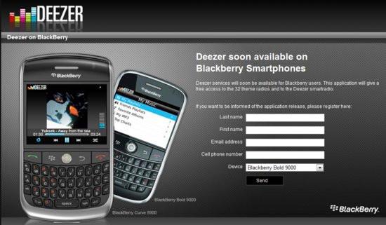 application deezer pour blackberry