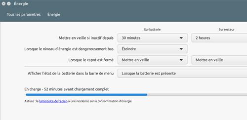 Ubuntu batterie