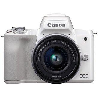 EOS M50 + 15-45mm - BlancCMOS WiFi Électronique Hybride SDXC 7.5 cm SD 390 g Full HD (1920 x 1080) 3 Pouces Integré NFC Bluetooth 24,1 Mégapixels SDHC 100 à 25600 ISO