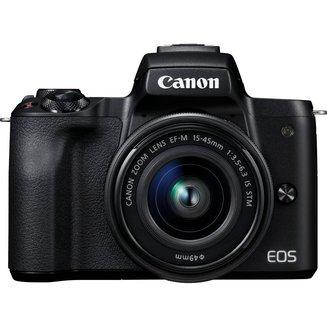 EOS M50 + 15-45 mm - NoirCMOS WiFi Électronique Hybride SDXC 7.5 cm SD 390 g Full HD (1920 x 1080) 3 Pouces Integré NFC Bluetooth 24,1 Mégapixels SDHC 100 à 25600 ISO