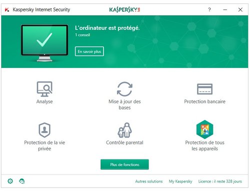 kaspersky interface comparatif antivirus 2018