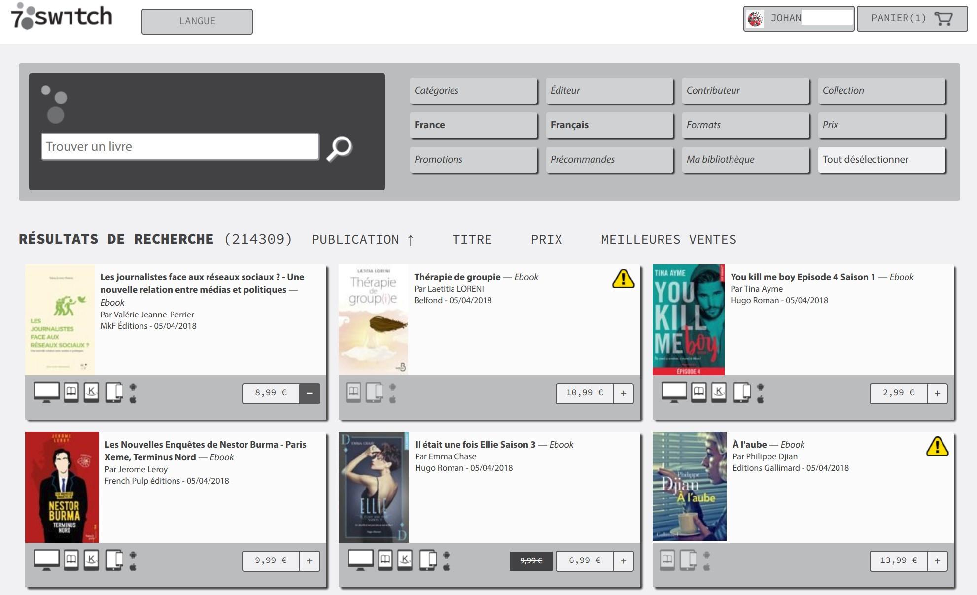 7Switch est une librairie en ligne indépendante, accolée à la société  immatériel.fr qui est spécialisée dans la distribution d œuvres numériques. 4dbf1de50e6e