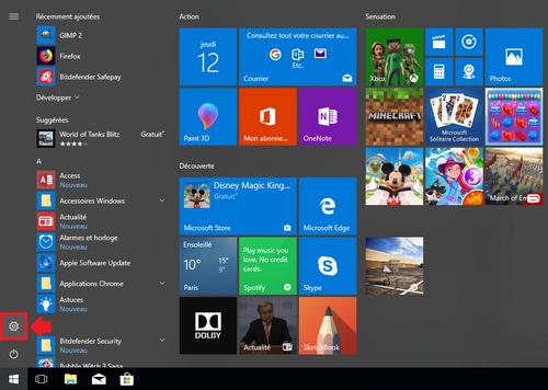 menu démarrer windows 10