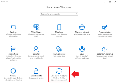 paramètre windows 10