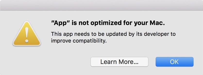 MacOS informe désormais les utilisateur du fait que telle ou telle application utilise une architecture 32-bits.