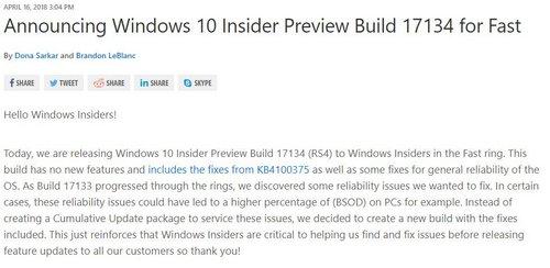 Windows 10 Preview Build 17334