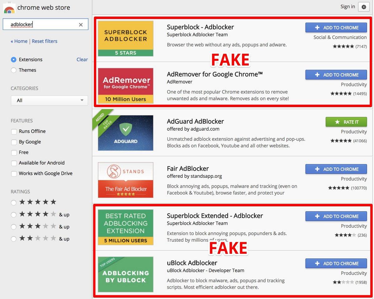 Faux bloqueurs de publicité dans le magasin d'extensions de Google Chrome