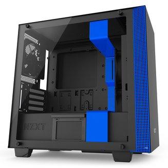 H400 (Fenêtre) - Noir/BleuBoitier moyen tour Micro ATX sans alimentation Oui Mini ITX 4 140 mm Plastique 5 1 Acier, Verre Trempé Noir / bleu