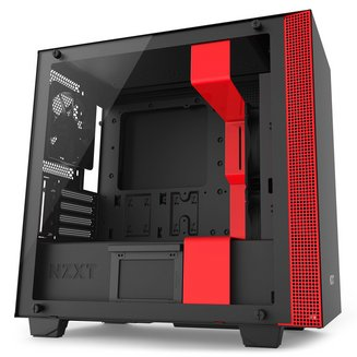 H400 (Fenêtre) - Noir/RougeBoitier moyen tour Micro ATX sans alimentation Oui Mini ITX 4 140 mm Plastique 5 1 Acier, Verre Trempé Noir / rouge