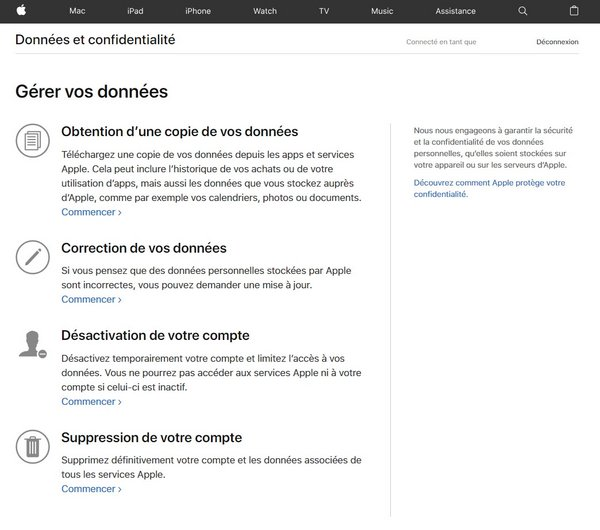 apple id data & privacy