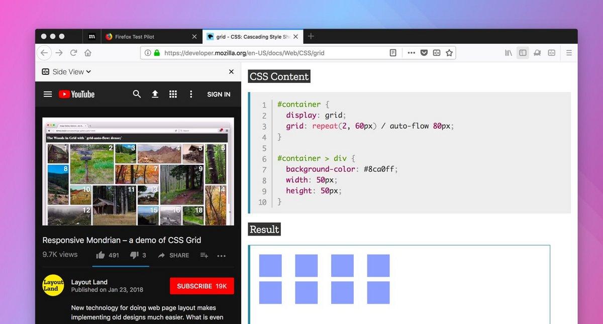 Le mode « fenêtres côte-à-côte » dans Firefox