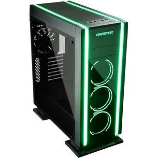 Saberay (ECA3500BA-RGB) (Fenêtre)Boitier moyen tour ATX Micro ATX Noir sans alimentation Mini ITX 4 140 mm 2 9 1 Acier, Verre Trempé
