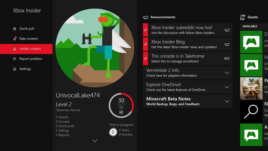 Xbox Insider Fast Start