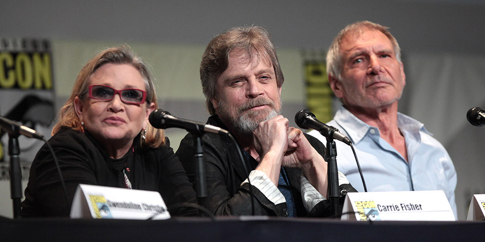 carrie fisher, mark hamil, harrison ford, star wars 2015