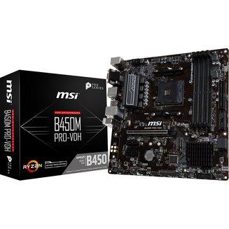 B450M PRO-VDH4 Oui Oui Micro ATX AMD AMD 64 Go 2 x PCI Express 2.0 x1 1 x PCI Express 3.0 x16 0 1 10 4 Serial ATA III 4 Realtek 4 8 8 DDR4 ALC 892 Realtek 8111H Socket AM4 AMD B450