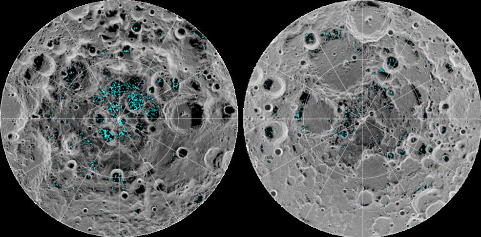 de la glace aux pôles de la lune
