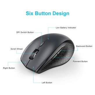 TeckNet BM308 Wirelesssans fil Optique 6 boutons Souris Roulette de Défilement Bluetooth Bluetooth 3000 dpi