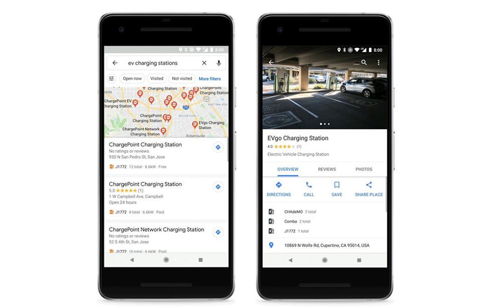 Google Maps trouver borne voitures électriques
