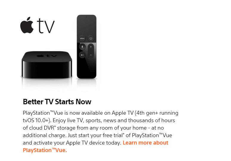 PS Vue Apple TV