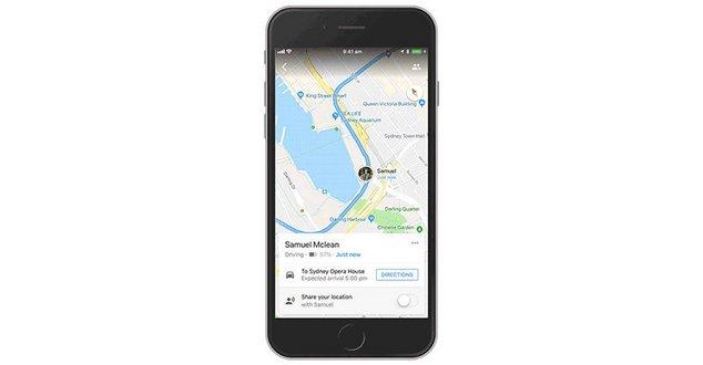 google maps partage de trajets ios
