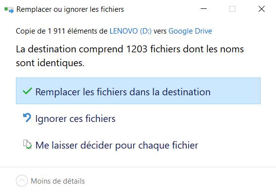 Remplacement fichier Windows 10