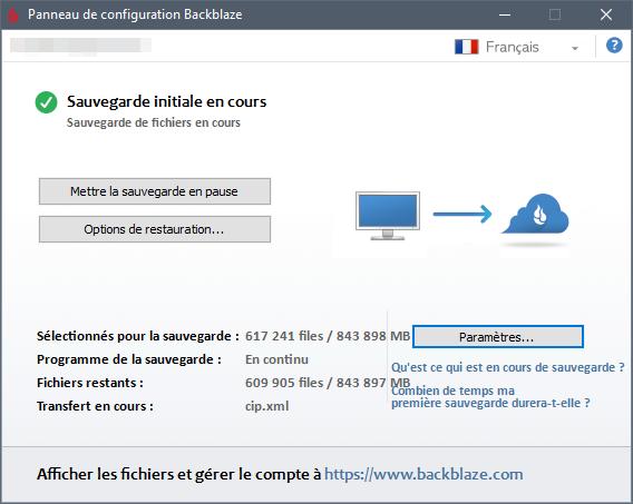 backblaze panneau de configuration.png