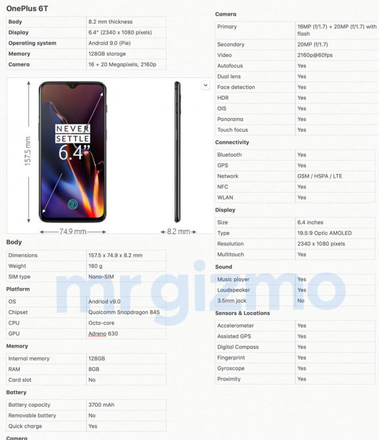 OnePlus 6T leak Gizmochina