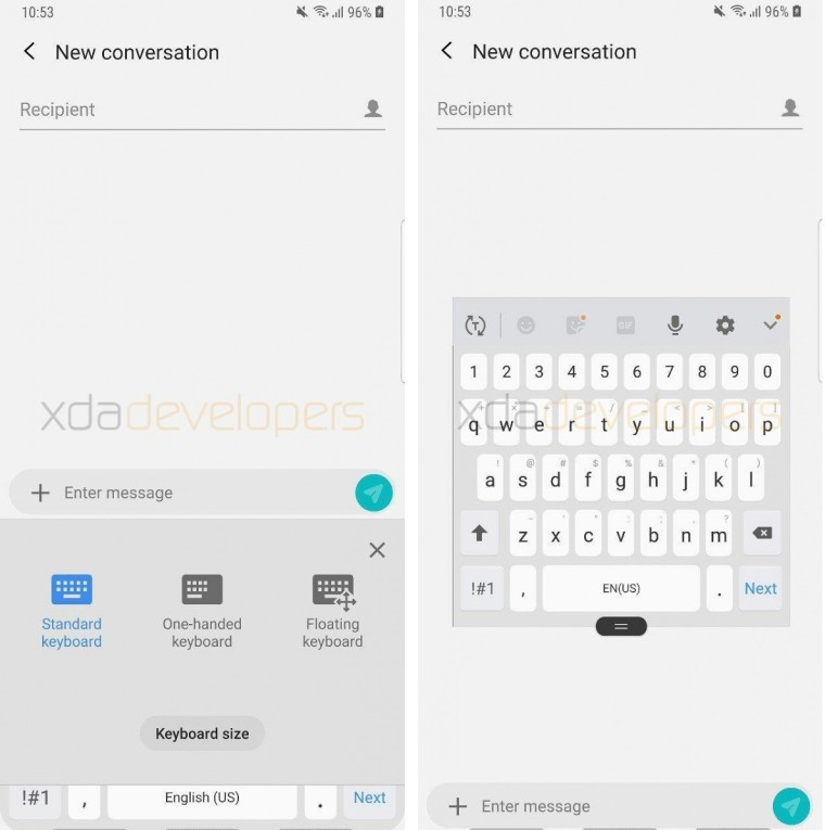 Samsung Android Pie clavier flottant