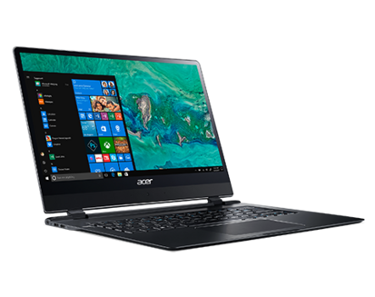 Acer Swift 7 Noir1920 x 1080 8 Go 256 Go 1,20 kg 13,3 pouces 10 Heure(s) Intel HD Graphics 615 Windows 10 Professionnel 64 bits Dual Core Intel noir