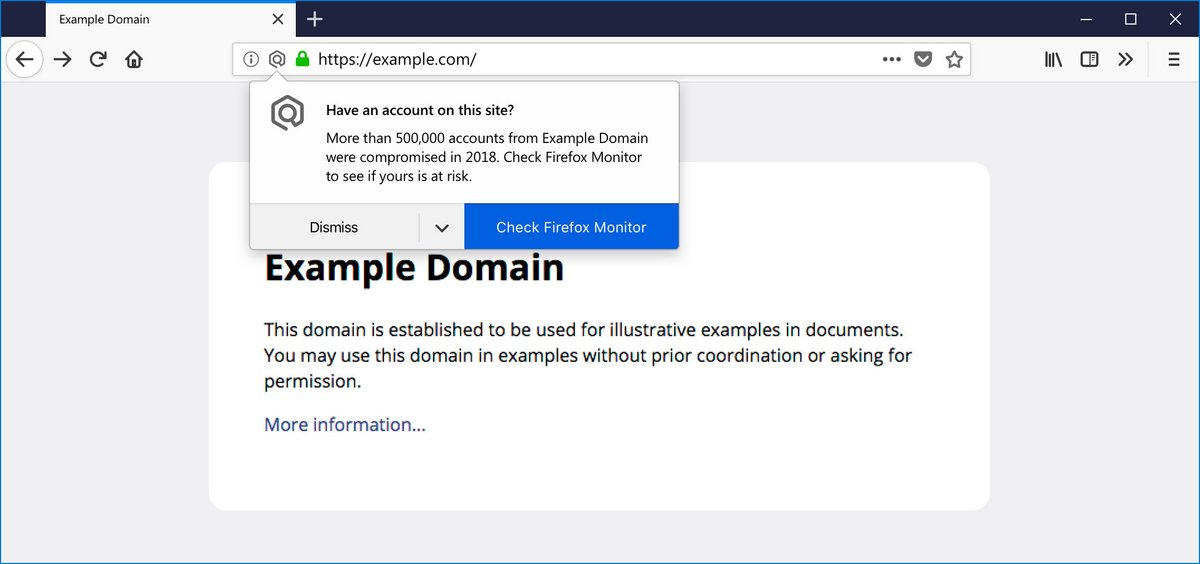 Notification site piraté Firefox