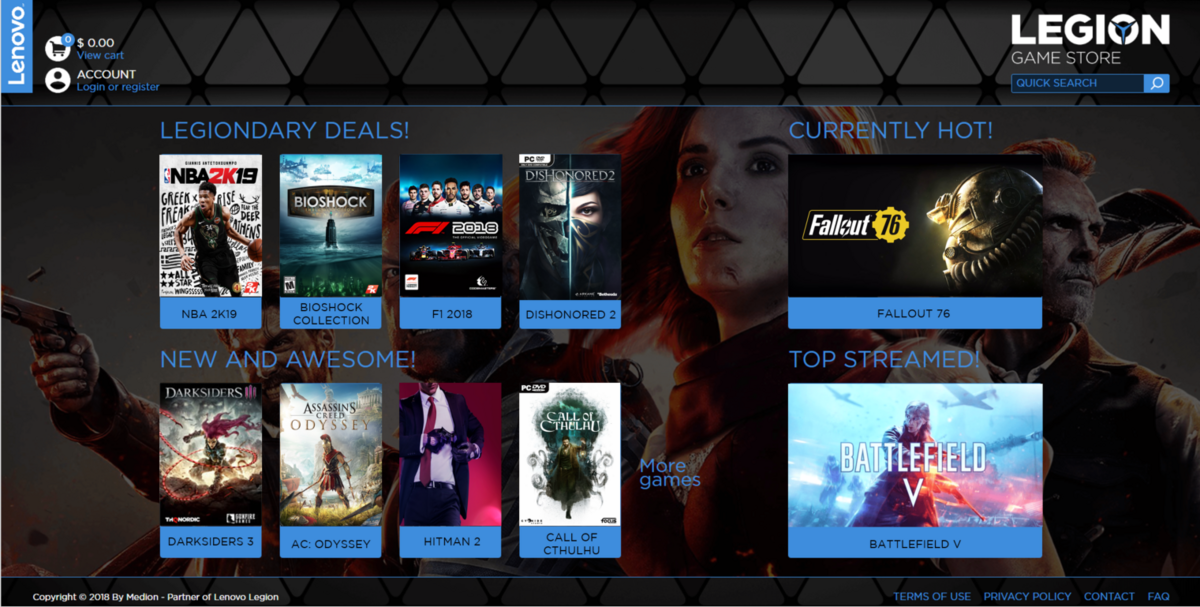 Lenovo Game Store