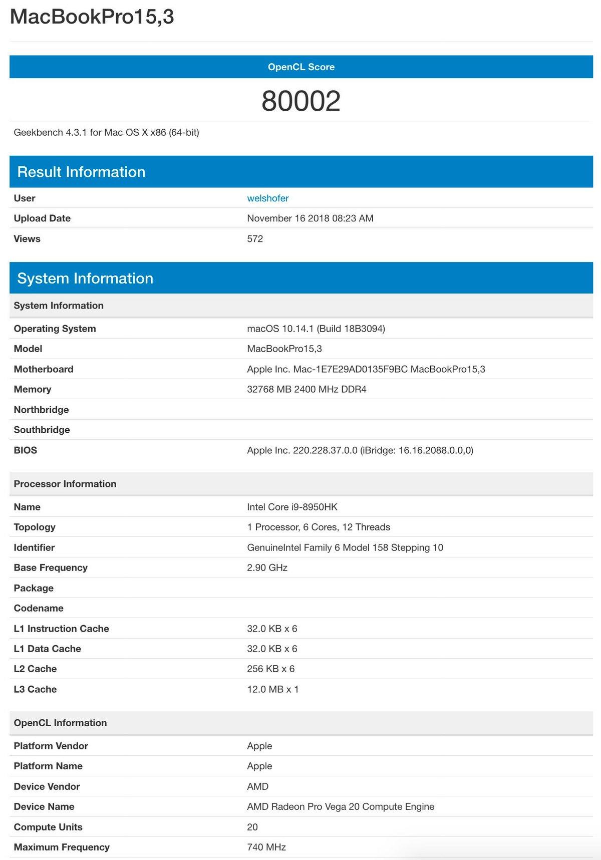 Benchmark MacBook Pro 15 Pro Vega