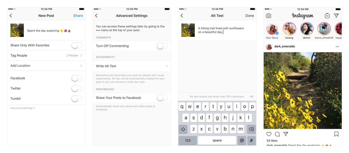 Instagram audiodescription