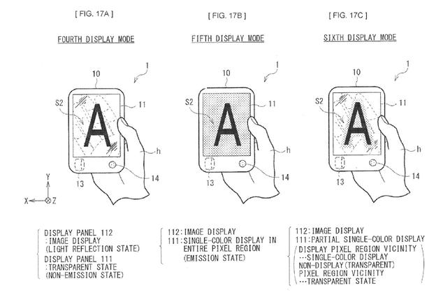 brevet sony smartphone transparent