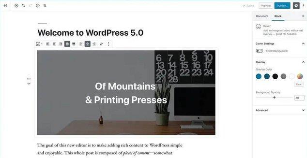 wordpress 5 editeur gutenberg