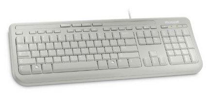 Microsoft Wired Keyboard 600 USB BlancUSB Filaire AZERTY Français Computer Membrane Résistant Aux Eclaboussures Pavé Numérique Touches silencieuses Console de Jeu