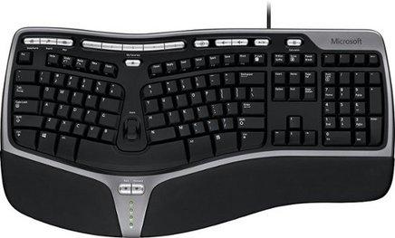 Microsoft Natural Ergonomic Keyboard 4000USB Ergonomic Filaire AZERTY Français Computer Membrane Slim Pavé Numérique Repose-Poignet
