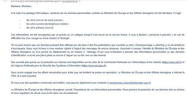 mail piratage ministère de l'Europe et des affaires étrangères