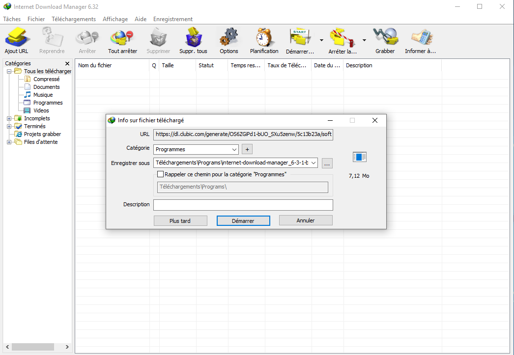 internet download manager 6.05 gratuit sur 01net