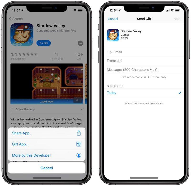 App Store in app gift